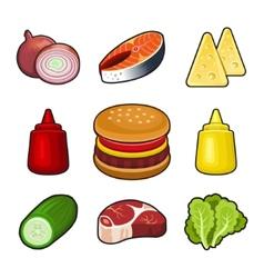 Burger icons set vector image vector image