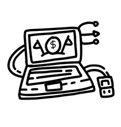 business device hand drawn icon design outline vector image