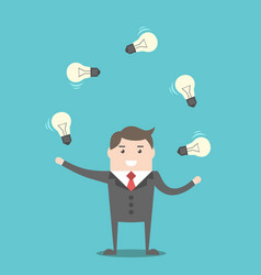 businessman juggling light bulbs vector image