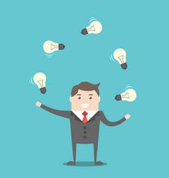 Businessman juggling light bulbs vector