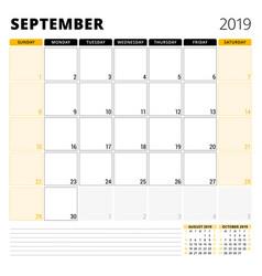 calendar planner for september 2019 stationery vector image