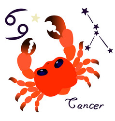 cancer zodiac sign in cartoon style isolate vector image
