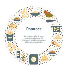 cartoon color potato banner card circle vector image