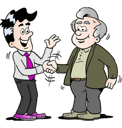 Cartoon of two men there has agreed a deal vector