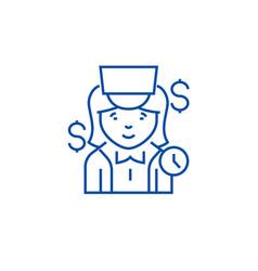 cashier line icon concept cashier flat vector image