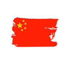 China flag painted by hand art flag vector