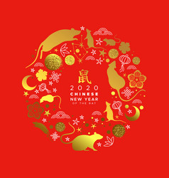 chinese new year 2020 gold glitter rat icon card vector image