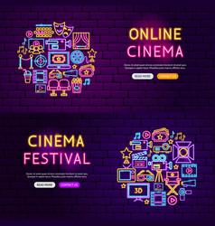 Cinema website banners vector