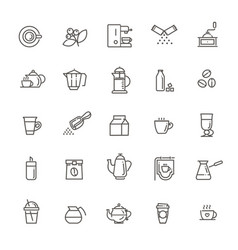 Coffee and milk line icon set drink vector