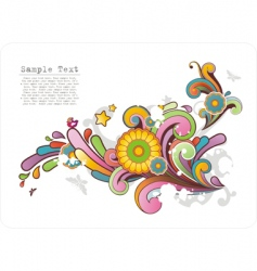 Colored ornament with floral motives vector