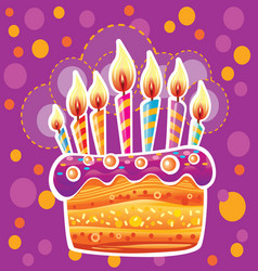 colorful birthday cake with candles vector image