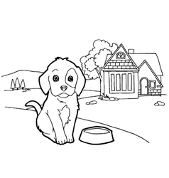 Coloring book with dog vector