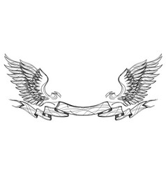 Contour image of wings and ribbon isolated on vector