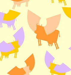 Cow wings seamless pattern Colored Silhouettes vector image