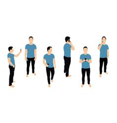 crowd people with smartphones men teens young vector image