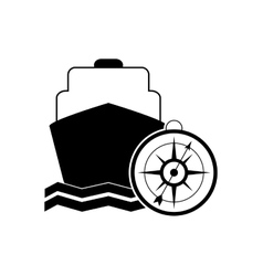 cruise ship and compass icon vector image