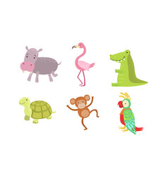 Cute african animals set turtle monkey parrot vector