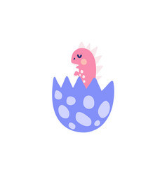 Cute baby dinosaur in egg shell funny little vector