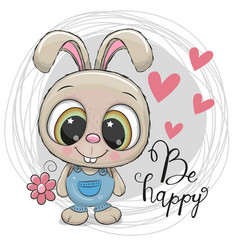 Cute cartoon rabbit with flower vector
