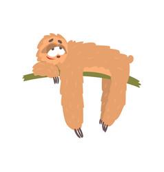 Cute happy cartoon lazy sloth character lying on vector
