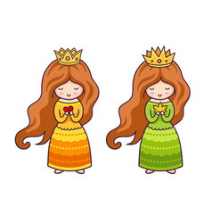 cute little princesses with heart and autumn maple vector image