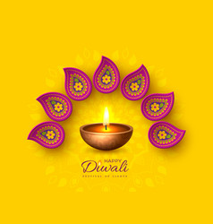 diwali festival holiday design with paper cut vector image