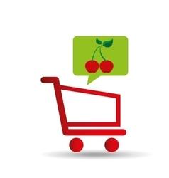 E-shopping fresh cherry fruit design vector