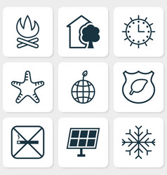 ecology icons set with eco home starfish vector image