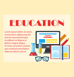 education colorful horizontal banner vector image