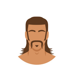 face man with mustache and mullet hairstyle vector image