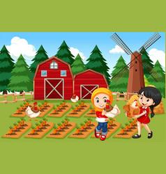 farmers in farm scene vector image