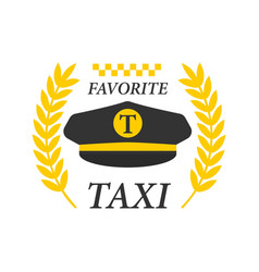 Favorite taxi logotype with black drivers cap and vector