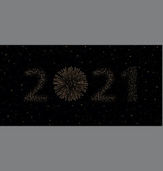 firework 2021 new year concept on black night sky vector image