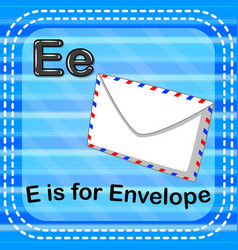 flashcard letter e is for envelope vector image