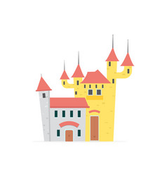 Flat cartoon castle with isolated white vector