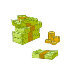 flat cash money pile stack gold coin set vector image