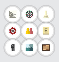 flat icon entertainment set of mahjong poker vector image
