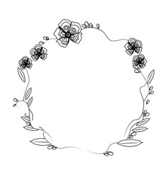 floral wreath flowers decoration line vector image
