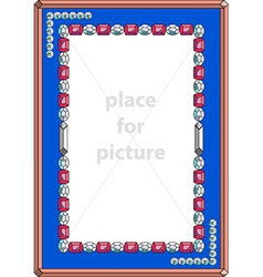 Frame with precious stones vector