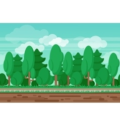 Game seamless summer landscape forest background vector