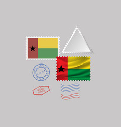 Guinea-bissau flag postage stamp set isolated on vector