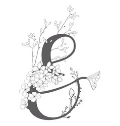 Hand drawn floral ampersand monogram and vector