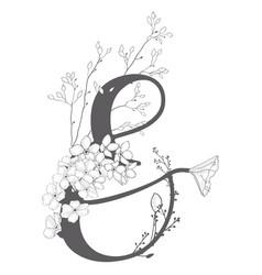 Hand drawn floral ampersand monogram vector