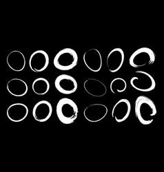 hand drawn white circle brush stroke set vector image