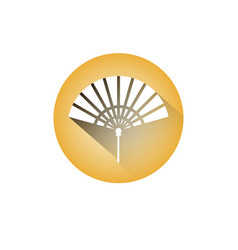 Hand fan icon chinese paper souvenir or accesory vector