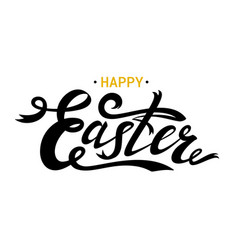 Happy easter lettering card black ribbon text vector