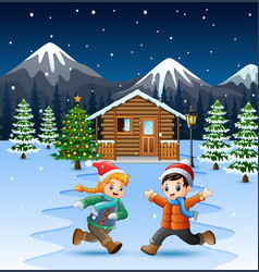 Happy kids playing in front of snowy house in chri vector