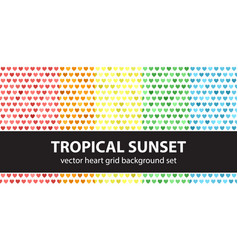 Heart pattern set tropical sunset seamless vector