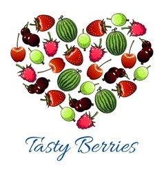 Heart poster of fresh berries and fruits vector image