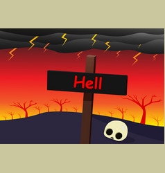 Hell landscape with signpost skull and strom vector
